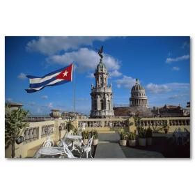 Αφίσα (Κούβα, κτίρια, σημαία, cafe)